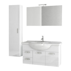 ACF - 39 Inch Glossy White Bathroom Vanity Set - . Set Includes: Vanity Cabinet (2 Doors,2 Drawers), high-end fitted ceramic sink, wall mounted vanity mirror, tall storage cabinet. Vanity Set Features: Vanity cabinet made of engineered wood. Cabinet features waterproof panels. Vanity cabinet in glossy w