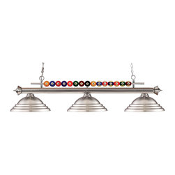 Z-Lite - Nickel Shark 3 Light Chandelier with Brushed Nickel Metal Shade - Playful pool ball motifs best describe this beautiful three light fixture. Finished in brushed nickel and paired with matching brushed nickel shades, this three light fixture would be at home in the game room. 72 inches of chain per side is included to ensure the perfect hanging height.