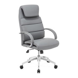 Plush Leatherette Classic Office Chair Gray - Pull up this classic chair to your office desk and get to work. Comfortable to the max, this chair has a plush leatherette head rest and plush leather arm rests. A sectioned and curved leather backing adds support to keep your back at ease while you work, and a chromed steel rolling base includes ability to adjust height and tilt factor.