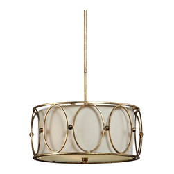 Uttermost - Carolyn Kinder Ovala 3-Light Pendant Chandelier - Accent a dining area or kitchen space with the understated glamour of this 3-light pendant chandelier shaded in beige linen. A lovely chandelier from designer Carolyn Kinder and the Uttermost Lighting collection. The drum shaped shade is in a beige linen fabric, and encircled by an antique gold leaf metal surround. Includes downrods for adjustable hang height.