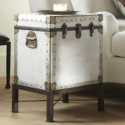 LUDLOW TRUNK SIDE TABLE - Like vintage trunks that have been repurposed to serve as occasional tables, this piece boasts ample storage and style. Its artfully finished to replicate the look of weathered canvas, and its interior features wood-lined compartments for storing blankets, games and more.