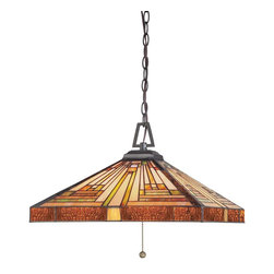 Quoizel - Quoizel TF885CVB Stephen Traditional Tiffany Pendant Light - This handcrafted Tiffany style collection illuminates your home with warm shades of amber, bisque and earthy green, arranged in a clean and simple geometric pattern reminiscent of the works of Frank Lloyd Wright.  The sturdy base complements the Arts & Crafts style, and is finished in a vintage bronze patina.