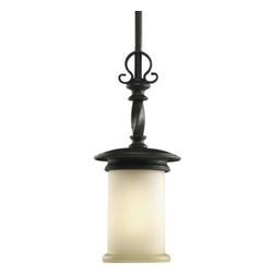 "Progress Lighting - Progress Lighting P5076-80 Santiago 1-Light Mini-Pendant in Forged Black P5076-8 - One-light mini-pendant.with jasmine mist glass enhanced by subtle forged iron twists.Bulb Type: Medium Collection: Santiago Energy Star Compliant: No Finish: Forged Black Height: 15-1 4 Lamp Wattage: 100W max Length: 73 Light Direction: Down Lighting Number of Lights: 1 Socket 1 Base: Medium Socket 1 Max Wattage: 100 Style: Traditional Suggested Room Fit: Kitchen, Kitchen Nook, Office Type: Mini-Pendants Width: 6-1 4{General Jasmine glass shade, 4-7 8""Dia. x 7-3 4"" T, 1-5 8""Dia. center hole Painted finishes 2- 12"" and 2- 15"" matching stem sections supplied with concealed connectors Steel construction Companion chandeliers, hall and foyer, wall bracket, close to ceiling, and bath and vanity units {Mounting Ceiling stem mounted Canopy covers a standard 4"" hexagonal outlet box Canopy has a hang straight swivel for sloped ceilings Mounting strap for outlet box included {Electrical Ceramic medium based socket Pre-wired {Labeling UL-CUL listed"