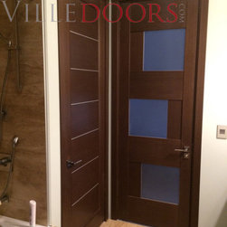 Modern Interior Doors - Modern interior doors for the bathroom. 8 feet tall. Concealed hinges, European mortise magnetic lock with handles. The price includes door slab, frames, casings and hardware.