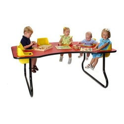 6 Seat Toddler Activity Table - You may be the one on the business cards but when they're sitting at the 6 Seat Toddler Activity Table you might start thinking of your children as the Board of Directors. But at least if they're going to keep you running around it will be easier to keep an eye on them when they're all in the same place. This space-saving table features 6 removable chairs that are integrated into the surface of the table. Each chair is molded from easy-to-clean polyethylene and features a safety belt for added security. The laminated tabletop is also easy to clean and like the seats is available in your choice of colors. Sturdy tubular steel legs allow you to fix the height of the table at 14 or 27 inches high. These seats are recommended for children ages 5 to 24 months.About Toddler TablesAlmost 30 years ago Toddler Tables founder and church minister Glenn Holland got to work in his garage to fix a problem that he saw every Sunday. He noticed that parents with young children spent more time holding their children than they did being involved in the congregation. With an idea in mind he set out using the best materials and production methods available to help care for the children and assist the parents in his congregation. Holland's hard work paid off when he developed the first Toddler Table. With the seat mounted into the top of the table he was able to provide caregivers with more flexibility in their jobs and gave the children a safe and comfortable way to interact with other children. Before long Holland's new product began making waves in the child care industry and what was once being built in a garage is now produced in the Toddler Tables manufacturing facility in Raleigh North Carolina. Toddler Tables has become a symbol of commitment to the child care industry and even though they've grown beyond Holland's garage their attention to safety and quality are still available to every preschool Sunday school and daycare that cares just as much about the needs of the children they serve.