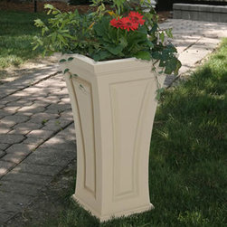 Cambridge Tall Patio Planter - The sleek, curved design of the Cambridge Tall Patio Planter makes it a standout addition to any outdoor living space. It is the perfect way to bring color and foliage to patios, porches, balconies or walkways.