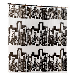 """Cityscape"" PEVA Shower Curtain with Built-in Hooks - ""Cityscape"" 5 Gauge Peva Shower Curtain with Built in Shower Curtain Hooks.  Inherently Mildew & Mold Resistant, contains no Chlorine / PVC, Odor Free.. Our ""Cityscape"" PEVA Shower Curtain with Built in Hooks is a fun-themed, clean addition to any bathroom--dorm bathrooms especially. Made of durable, heavy weight (5 gauge) PEVA material, this curtain lacks both PVC and the Chlorine that tends to give vinyl curtains an unseemly chemical smell. PEVA is inherently resistant to mildew and mold, and wipes clean easily.  And speaking of easy, this curtain's built in hooks make installing or removing completely pain free.    Wipe clean with damp sponge with warm soapy cleaning solution"