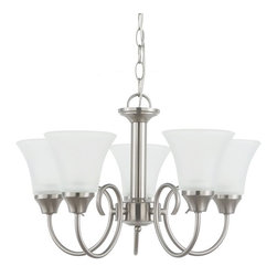 Sea Gull Lighting - Sea Gull Lighting Holman 5-Light Chandelier - 20W in. Brushed Nickel Multicolor - Shop for Chandeliers from Hayneedle.com! Don t worry about finding the perfect room in your house for the Sea Gull Lighting Holman 5-Light Chandelier - 20W in. Brushed Nickel because this versatile fixture can easily be added to any one of them. The curved support arms of this fixture can be rotated to give you an upward or downward-facing fixture. Five shades of satin-etched glass will radiate a cool generous light that is perfectly accented by the sleek finish of brushed nickel. You can easily locate this adjustable fixture in any room when you take advantage of 36 inches of hanging chain and 120 inches of lead wire.
