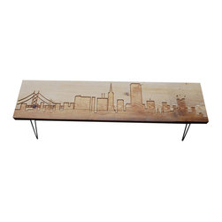 "Urban Wood Goods - San Francisco Reclaimed Wood Bench-Thick, 48"" - Your heart may be left in San Francisco, but this bench belongs anywhere you need a bit of extra seating in your home — entryway, along a wall or table or behind the sofa. Crafted of reclaimed wood with midcentury, modern hairpin legs, the charm of this particular city bench will live on for many years to come."