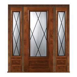 """Prehung Sidelites Door 80 Wood Alder Sandringham 3/4 Lite Glass - SKU#E08405-G-DE34S1-2BrandGlassCraftDoor TypeExteriorManufacturer Collection3/4 Lite Entry DoorsDoor ModelSandringhamDoor MaterialWoodWoodgrainKnotty AlderVeneerPrice4970Door Size Options  +$percentCore TypeDoor StyleDoor Lite Style3/4 LiteDoor Panel Style1 PanelHome Style MatchingDoor ConstructionEstanciaPrehanging OptionsPrehungPrehung ConfigurationDoor with Two SidelitesDoor Thickness (Inches)1.75Glass Thickness (Inches)Glass TypeTriple GlazedGlass CamingBlackGlass FeaturesTempered , BeveledGlass StyleGlass TextureGlass ObscurityDoor FeaturesDoor ApprovalsWind-load Rated , SFI , TCEQ , AMD , NFRC-IG , IRC , NFRC-Safety GlassDoor FinishesDoor AccessoriesWeight (lbs)527Crating Size25"""" (w)x 108"""" (l)x 52"""" (h)Lead TimeSlab Doors: 7 Business DaysPrehung:14 Business DaysPrefinished, PreHung:21 Business DaysWarrantyOne (1) year limited warranty for all unfinished wood doorsOne (1) year limited warranty for all factory?finished wood doors"""