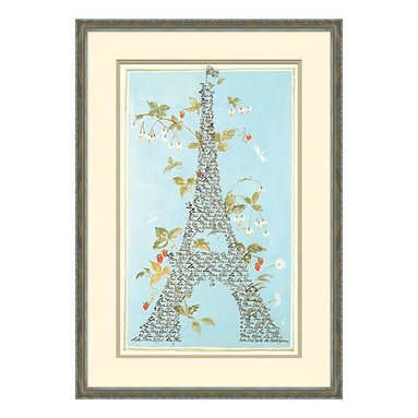 Parisian Monuments -A Framed Giclee - There is about it a joie de vivre, a sublime celebration of springtime in Paris when gaiety grows and beauty blossoms and all seems possible. In Parisian Monuments,  the form of the Eiffel Tower is splendidly rendered in an ebony old-world script that floats atop a sky of robin's egg blue. An unadorned frame allows attention to remain on the enchanting image at the center of the artwork.
