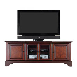 "Crosley Furniture - Crosley Furniture LaFayette 60"" Low Profile TV Stand in Vintage Mahogany - Crosley Furniture - TV Stands - KF10005BMA - Enhance your living space with Crosley's impeccably-crafted low profile TV stand. This signature cabinet accommodates most 60"" flat panel TVs and is handsomely proportioned featuring character-rich details sure to impress. The hand rubbed multi-step Vintage mahogany finish with antique brass finish hardware is perfect for blending with the family of furniture that is already part of your home.Raised panel doors strategically conceal stacks of CD/DVDs and various media paraphernalia. Tempered beveled glass doors not only add a touch of class; they protect those valued electronic components while allowing for complete use of remote controls. Adjustable shelving offers an abundance of versatility to effortlessly organize by design while cord management tames the unsightly mess of tangled wires. Style function and quality make this cabinet a wise choice for your home furnishings needs."