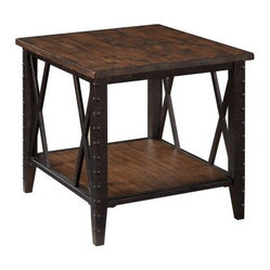 Magnussen Fleming Rectangle Rustic Pine Wood and Metal End Table