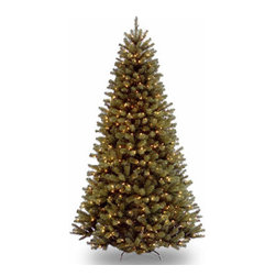 9 Ft. North Valley Spruce Christmas Tree with 700 Clear Lights-UL - Measures 9 feet tall with 65 inch diameter. Pre-lit with 700 UL listed, pre-strung Clear lights. Tip count: 2128. All metal hinged construction (branches are attached to center pole sections). Comes in four sections for quick and easy set-up. Includes sturdy folding metal tree stand. Light string features BULB-LOCK to keep bulbs from falling out. Tree remains lit even if a bulb burns out. Fire-resistant and non-allergenic. Includes spare bulbs and fuses. 5-year tree warranty / 2-year lights warranty. Packed in reusable storage carton. Assembly instructions included.