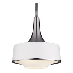 Murray Feiss - Murray Feiss P1285BS/TXW Holloway 1 Bulb Brushed Steel / Textured White Pendant - Murray Feiss P1285BS/TXW Holloway 1 Bulb Brushed Steel / Textured White Pendant