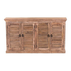 "YOSEMITE HOME DECOR - Shutter Door Sideboard - A beautiful four door storage chest. This naturally distressed four door shutter cabinet has naturally features a natural lightly distressed finish. Aged metal door rings compliment the natural look. A single solid mango inner shelf provides additional storage space. Assembled, Made in India.   Overall Item Dimension is 72""Wx16""Dx40""H"