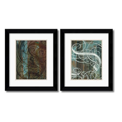 Amanti Art - Dust Devil and Spindrift - set by Mick Gronek - Through blending the delicacy of calligraphy with an abstract backdrop of dark hues, an exotic urban harmony of line and color is created.