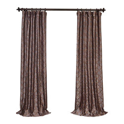 """Exclusive Fabrics & Furnishings - Tunisia Smoke Embroidered Faux Silk Curtain - SOLD PER PANEL . 51% Polyester 49% Nylon   Lined . 3"""" Pole Pocket with Hook Belt . Base Fabric-Grey   Pattern- Bronze .Weighted Hem   Dry Clean Only ."""