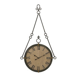 IMAX Imports - CKI Alexander Wall Clock - Carolyn Kinder designed traditional hanging wall clock made of iron with roman numerals.