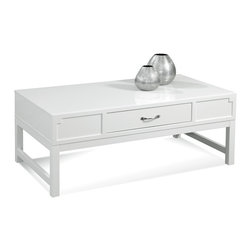 Bassett Mirror - Zoe Rectangular Cocktail Table - Let this snow white cocktail table shine among vibrant or heather tones, or let it be the base for a display of colorful accents. Whatever you choose, the smooth angles and shiny lacquered finish will complement any style of room.