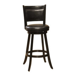 Hillsdale Furniture - Hillsdale Dennery Swivel 29 Inch Barstool in Black - Hillsdale Furniture's stately Dennery stool has a stout base with flared legs. The back, like the seat, is covered in easy to care for vinyl. This handsome stool is available in either a black finish with black vinyl or a cherry finish with brown vinyl. Exuding a warm, rich ambiance and constructed of sturdy hardwood, these stools are a grand addition to any kitchen or home bar area.