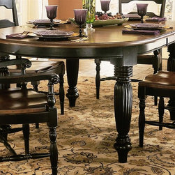 Hooker Furniture - Indigo Creek Dining Table - Chairs not included. Oval shape. Turned legs. Two matching 20 in. leaves. 4 in. top thickness. Made from hardwood solids and veneers. Rub through black finish. Top: 78 in. L x 48 in. W. Legs: 4.75 in. L x 4.75 in. W x 29.38 in. H. Minimum: 78 in. L x 48 in. W x 30 in. H. Maximum: 118 in. L x 48 in. W x 30 in. H