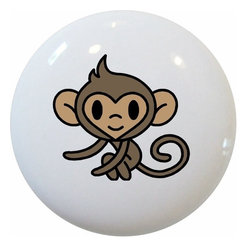 Carolina Hardware and Decor, LLC - Baby Monkey Ceramic Cabinet Drawer Knob - New 1 1/2 inch ceramic cabinet, drawer, or furniture knob with mounting hardware included. Also works great in a bathroom or on bi-fold closet doors (may require longer screws). Item can be wiped clean with a soft damp cloth. Great addition and nice finishing touch to any room!