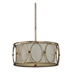 Carolyn Kinder - Carolyn Kinder Ovala Transitional Drum Pendant Light X-55912 - This Uttermost Ovala Transitional Pendant Light is a fixture with a little bit of flair and a lot of style. It features a crisp and clean, drum-shaped, beige linen fabric shade that's encased by the cut-out, oval design of the frame in a beautiful, antiqued gold leaf finish. The combination of metal and fabric creates a wonderful contrast that's sure to make this a piece that will stand out in any room in your home.