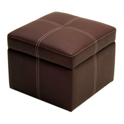 Ameriwood - DHP Delaney Small Square Ottoman in Coffee Brown - Ameriwood - Ottomans - 5153096 - Good things come in small packages with DHP's Delaney Small Storage Ottoman. Its contemporary style and lightweight design make this ottoman suitable for any decor and space. Great as an extra seat footstool or accent piece its soft faux-leather material and contrasting detailed stitching will bring an unexpected appeal to your room. The functional storage area within the ottoman gives an added little bonus to this already high-quality piece.