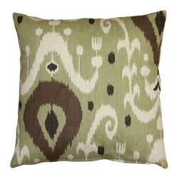 Pillow Decor - Pillow Decor - Indah Ikat Green 20 x 20 Throw Pillow - Indah, meaning beautiful in Indonesian, is the only way to describe this Green 20 inch square ikat throw pillow. The pattern on these pillows is a contemporary take on a classic Indonesian ikat design. The soft Green, brown and cream tones are also typical of the warm, natural colors found in traditional Indonesian Ikat.