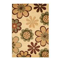 "Safavieh - Porcello Brown/Maroon Area Rug PRL4812B - 8' x 11'2"" - Fun colors and fetching flower-petal floral designs give this rug a creative style that's sure to bring life to any room. Soft polypropylene fibers provide a dense pile, designed to withstand high-traffic living rooms, dining spaces and hallways."