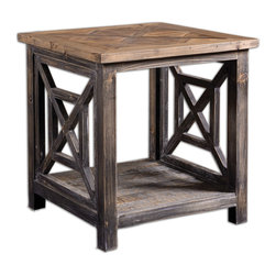 Uttermost - Spiro Reclaimed Wood End Table - Solid, reclaimed fir wood hand finished in brushed black with natural wood undertones. Top is salvaged fir lumber sun faded and left natural with only a light gray glaze. Bulbs Included: No