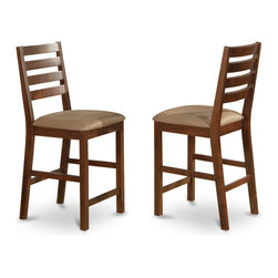 """East West Furniture - Cafe Pub Counter Height with Cushion Seat in Espresso Finish - Set of 2 - Cafe Pub Counter Height with cushion Seat - Espresso Finish; Sleek, satiny finished wood sets for easy-care elegance; Square-edge table top with beading detail reflects craftsman design.; Square legs give pub height bar stools complimentary table & chairs sets style.; Ladder back design distinguishes bar stools. with durable strength for kitchen or dining room use.; Pub height stools are available in oak-finish wood or oak-toned microfiber upholstery seats.; Weight: 44 lbs; Dimensions: 18""""L x 17""""W x 41.5""""H"""