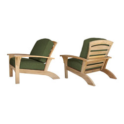 Douglas Nance - Set of 2, Douglas Nance Augusta Deep Seating Club Chairs, Fern - Douglas Nance Augusta is a leap away from the ordinary. This collection combines the Americana feel of an Adirondack chair with the grand comfort and style of fine teak deep seating furniture - and it reclines! Includes made-to-order Sunbrella cushion.