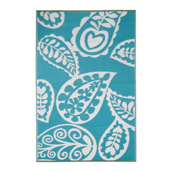 Indoor/Outdoor Paisley Rug, River Blue & White, 6x9