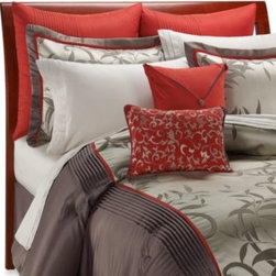Manor Hill - Manor Hill Mirador 8- Piece Complete Bed Ensemble - Red and a modern platinum gray combine with stunning results on this luxurious bedding. Comforter, bed skirt and shams are 100% polyester.