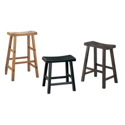 Homelegance - Homelegance Saddleback 18 Inch Stool - Black - A space apart from the hustle and bustle of today's hectic lives, this gathering height table with four saddle back stools are designed for you to enjoy a good meal with or without your friends and families. Available in three finishes: black sand-through finish, warm cherry finish, and oak finish.