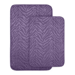 None - Wild Style Purple 2-piece Bath Rug Set - Add fun, comfort and style to your bath or shower room with these Wild Style animal stripe bath and shower rugs. Each bath rug is backed with non-skid latex to prevent slipping.