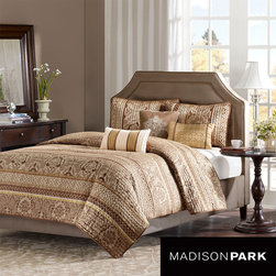 Madison Park - Madison Park Venetian 6-piece Coverlet Set - This soft coverlet set adds comfort to your bed. The set includes a coverlet, two shams, and three decorative pillows. All items are made of polyester and are completely machine washable. The brown and gold color scheme makes the bed look relaxing.