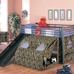 Coaster - 7470 Bunk Bed - This fun loft bed will be a welcome addition to your child's bedroom. Create a cool fort for your little one with this lofted twin size bed. The simple tubular metal frame offers sturdy support, with safety side guard on all sides. An attached ladder makes it easy to climb to the top, while a slide offers a great way to get back down! A tent covers the opening below the bed, for a fun spot to play with toys, read a book, or play hide and seek. Available in a bold multicolor or black with camouflage.