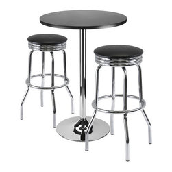 Winsome - Winsome Summit 3-Piece Pub Set with Swivel Stools in Black - Winsome - Pub Sets - 93362