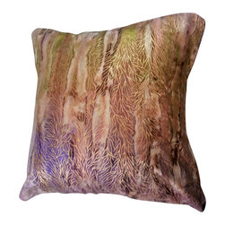 BohoCHIC Maui - Batik Handmade Lined Pillow Cover, Luxury Cushion Cover - This eye catching cushion has been hand crafted from a beautiful batik fabric with earthy tones of brown, cream and gold accents running throughout the pattern on the front. A brown mirror organza overlay over brown crepe silk lining creates a luxe sheen and texture over the lined envelope opening at the back. The combination of intricate design and delicate fabric, which subtly shimmers in the light makes this a striking addition to any home's decor.