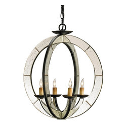 "Currey & Company - Meridian Chandelier - Two round ""bars? of iron and antique mirror form the sleek orb of the Meridian Chandelier. The Old Iron finish of the metal is a nice counterpoint to the flash of the antiqued mirror. This simple design with the elegance of mirror works in both traditional and contemporary settings."