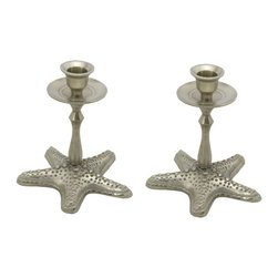 Silver Starfish Candleholders - The perfect addition to any beach house decor, these starfish candlesticks will be favorites for years to come. Use them to create the ideal ambience at dinner or over a glass of wine once the kids go to bed.