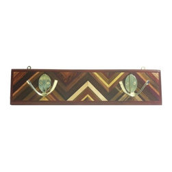 Exotic Chopping Blocks - Coat Rack - This coat rack is truly one of a kind as it incorporates many different types of woods that represent many different places around the world. Woods in this piece include Snakewood, Wenge, Maple, Purple Heart, and Zebra. The border of the piece is Padouk.