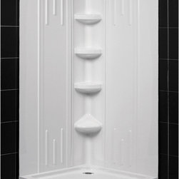 """Dreamline - DreamLine SlimLine 40""""x 40"""" Neo Shower Floor and QWALL-2 Shower Backwall Kit - DreamLine combines a SlimLine shower base with coordinating shower backwall panels to create a convenient kit that can transform a shower space. The SlimLine shower base incorporates a low profile design for a sleek modern look. The wall panels have a tile pattern and are easy to install with a trim-to-size fit. Both the shower panels and shower base are made from durable and attractive Acrylic/ABS advanced materials. DreamLine kits offer an ideal solution for any bathroom renovation project."""
