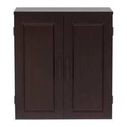 Elegant Home Fashions - Catalina Wall Cabinet - The Catalina Wall Cabinet from Elegant Home Fashions combines minimalist design with a rich, inviting espresso finish.  It has two doors opening and up to two adjustable shelves for all your storage needs. Wooden door handles add a warm touch.