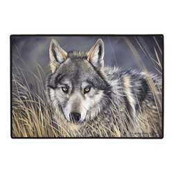 290-Wolf Doormat - 100% Polyester face, permanently dye printed & fade resistant, nonskid rubber backing, durable polypropylene web trim on the porch or near your back entrance to the house with indoor and outdoor compatible rugs that stand up to heavy use and weather effects