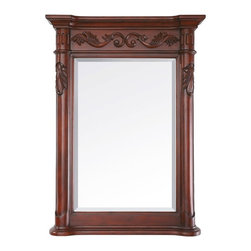 """Avanity PROVENCE Mirror 24"""" PROVENCE-M24-AC - The Provence Collection is offered in a beautiful distressed cherry wood finish with hand carved French details. This vanity is available in five sizes with optional matching granite tops. It offers a concealed drawer inside all single cabinets for your storage needs. Coordinating pieces include matching mirrors and linen tower to complete the look."""