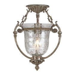 """Crystorama - Country - Cottage Etched Glass Aged Silver 13"""" High Ceiling Fixture - This semi-flushmount ceiling light fixture casts a warm glow. It features a silver finish on wrought iron and clear etched glass. Aged silver finish. Clear etched glass. Takes one 100 watt bulb (not included). 13"""" high. 11"""" wide.  Aged silver finish.  Clear etched glass.   Takes one 100 watt bulb (not included).  13"""" high.  11"""" wide."""